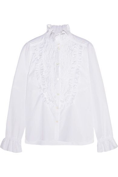 See by Chloé - Ruffle-trimmed Smocked Cotton-poplin Shirt - White - FR38