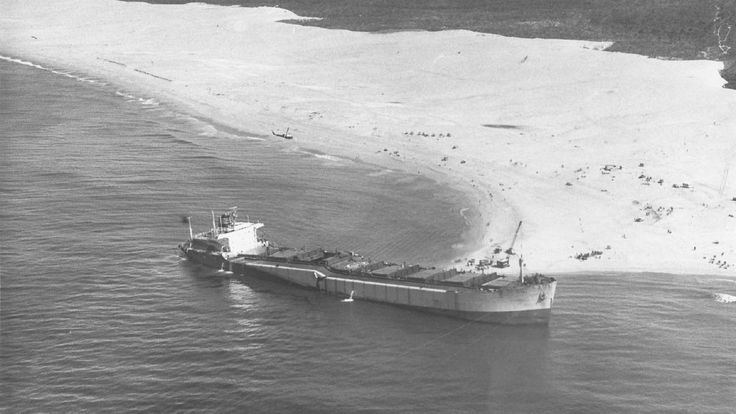 RUN AGROUND: Archival photographs of the Sygna grounding at Stockton Beach in 1974.