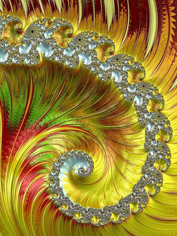Fractal Print featuring the photograph Fractal Spiral Three by Mo Barton