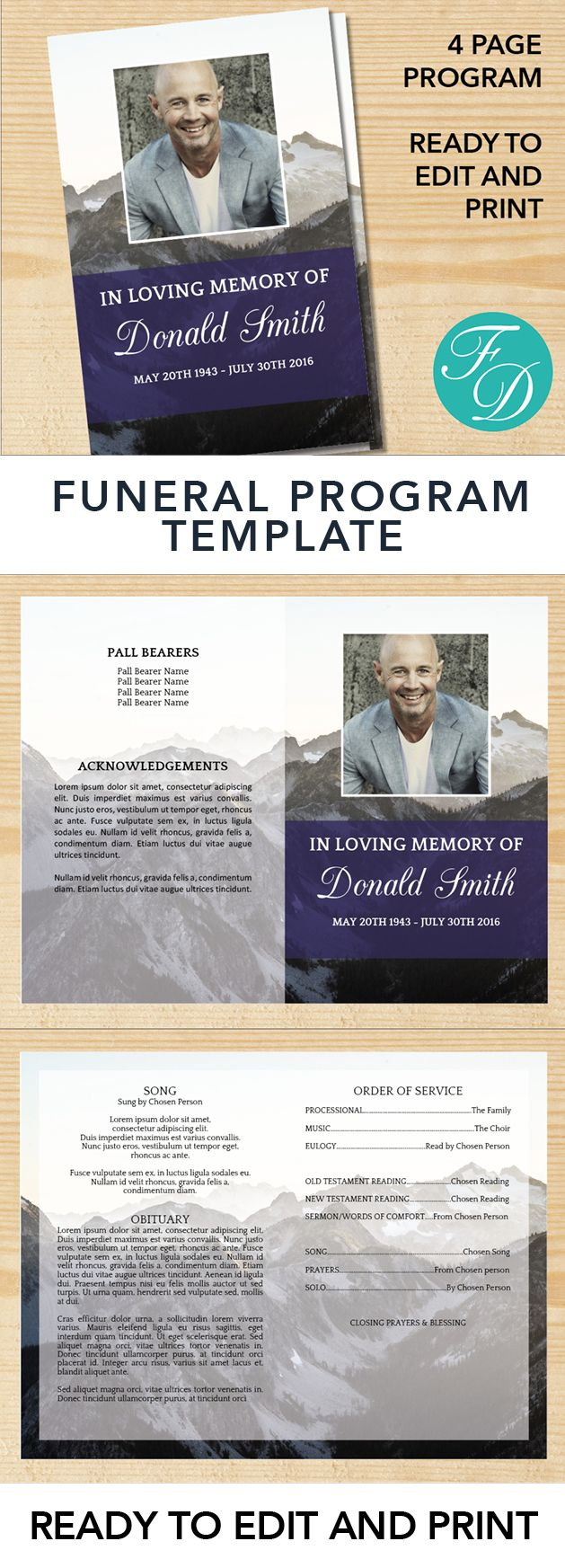 Mountains Printable Funeral program ready to edit & print. Simply purchase your funeral templates, download, edit with Microsoft Word and print. #obituarytemplate #memorialprogram #funeralprograms #funeraltemplate #printableprogram #celebrationoflife