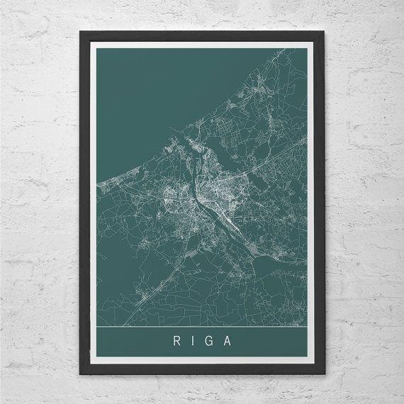 RIGA MAP PRINT - Latvia Map Art - High Quality Giclee Print Minimalist Art Print Customizable City Map Ribba Size
