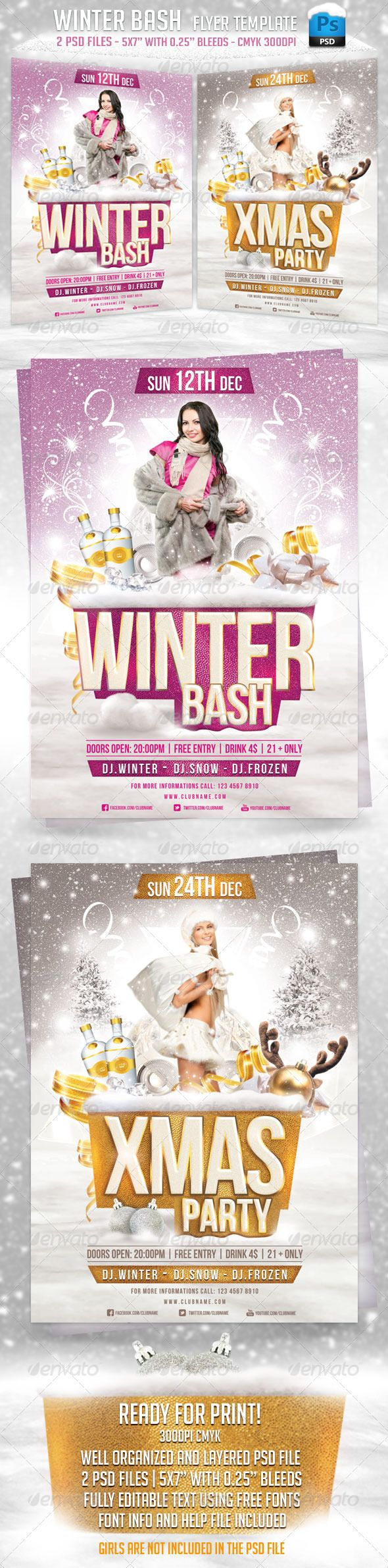 1000 images about flyers fonts flyer template and winter bash flyer template