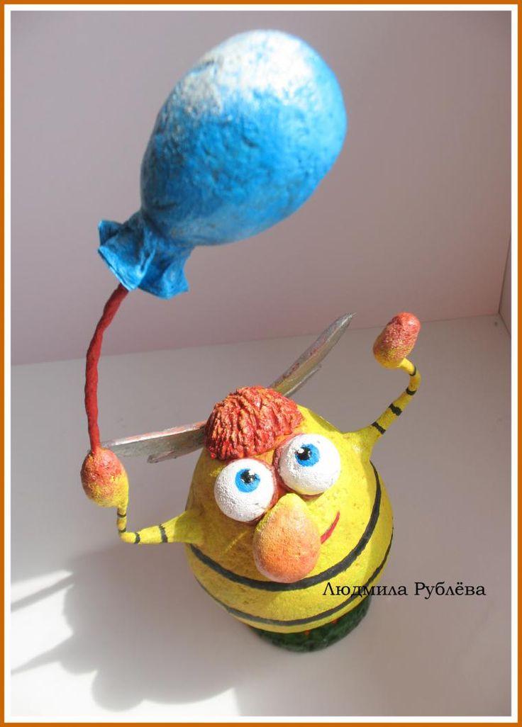 """Делаем позитивную игрушку """"ПЧЕЛкин"""" из папье-маше - Ярмарка Мастеров - ручная работа, handmade"""