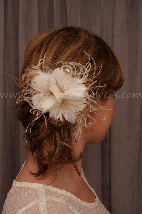 Feather Flower Bridal Veil Birdcage
