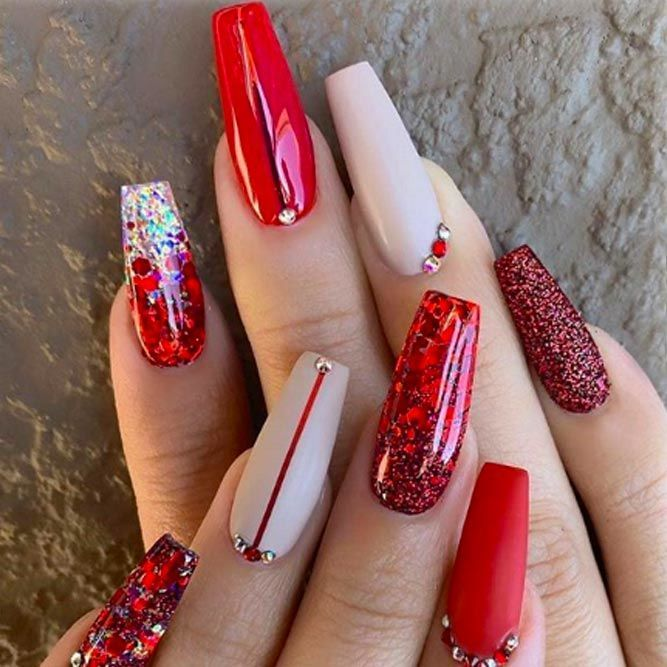Coffin Nails Ideas For Enchanting Look Naildesignsjournal Com In 2020 Red Acrylic Nails Red Christmas Nails Coffin Nails Designs