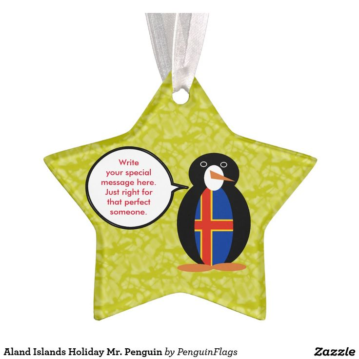Star Shaped Christmas Tree Ornament of Aland Islands Holiday Mr. Penguin. Can have many uses.