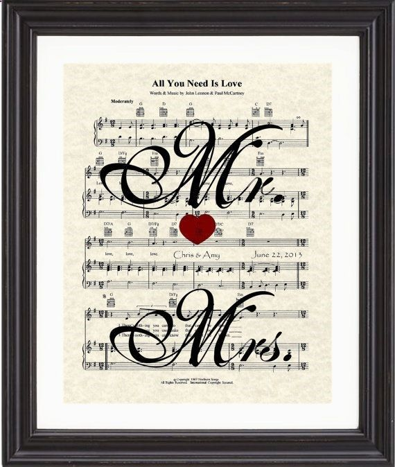 Custom, Mrs Mrs, Names, Date, Wedding Song, First Dance, Sheet Music, Art Print, Love, Anniversary, Gift on Etsy, $20.00