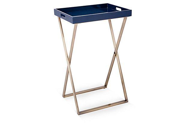 Ava Tray Table, Navy on OneKingsLane.com
