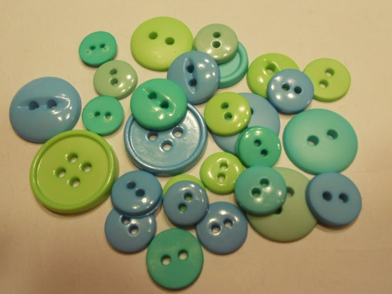 28 blue and green button mix 1221 mm 34 by petrascrafts64 on Etsy, $1.50
