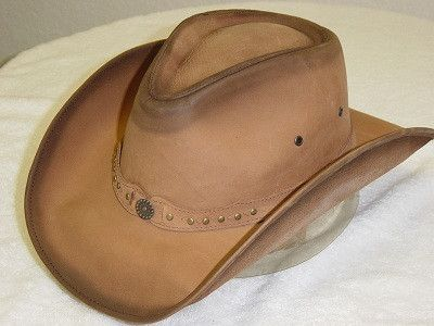 WEST SUNSET Leather Cowboy Hat in Distressed Tan Color | The Cowboy Hats Wil