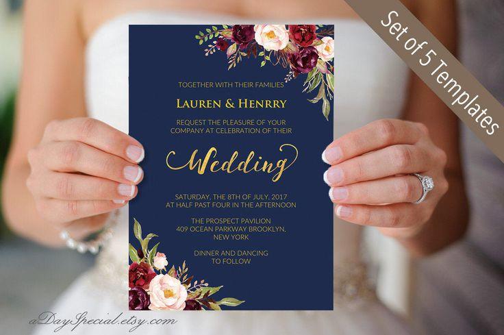 5 Navy Wedding Invitation Templates, Printable Burgundy Floral Wedding Invites Set, Rustic Boho Chic, Invite Set, DIY PDF Digital Download by aDaySpecial on Etsy https://www.etsy.com/listing/499279538/5-navy-wedding-invitation-templates