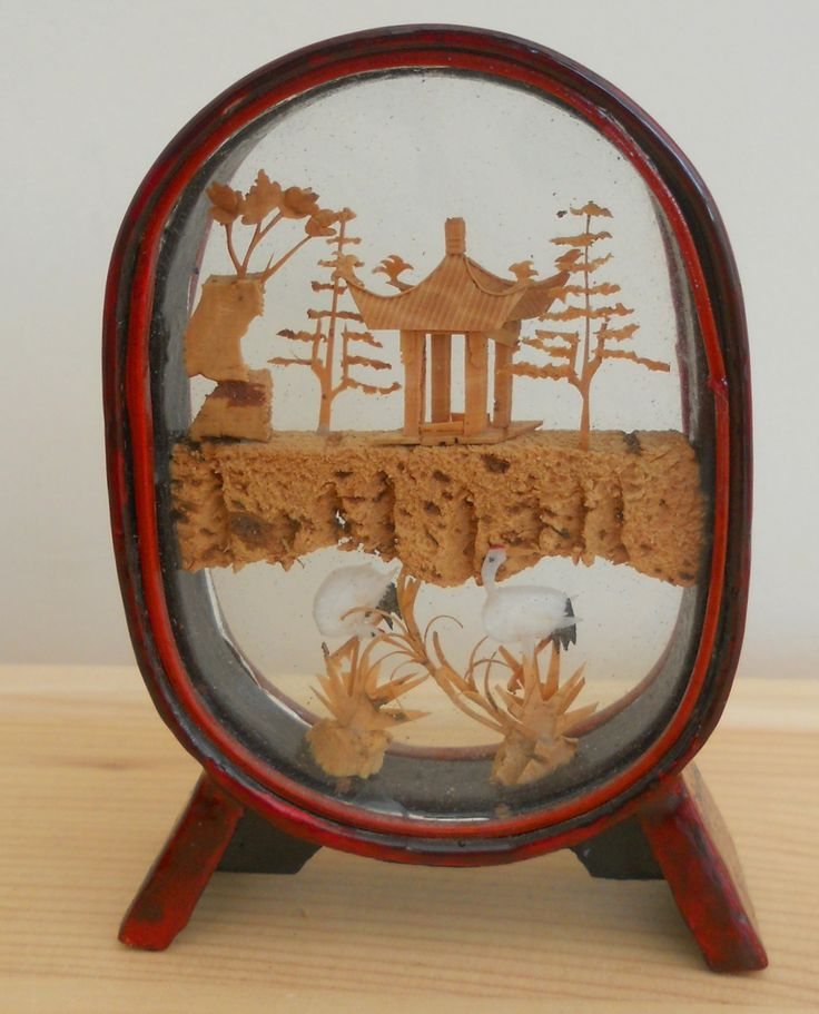 CHINESE CORK SCULPTURE IN GLASS CASE ~ sold ON MY EBAY SITE LUBBYDOT1