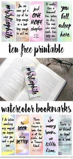 Free printable watercolor bookmarks                                                                                                                                                     More