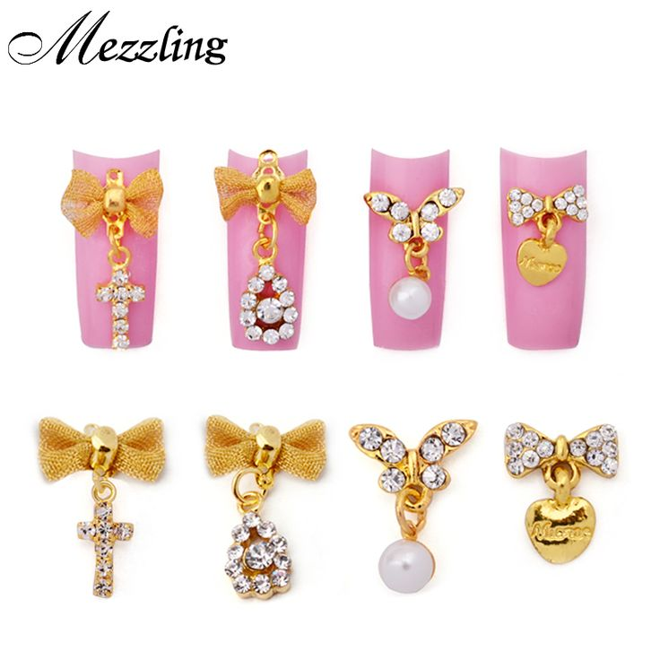 10pcs/lot Gold Alloy Glitter Rhinestone Nail Art Decoration,Butterfly Bow with Pearl Pendant 3d Nail Jewelry,DIY Charm Nail Tool