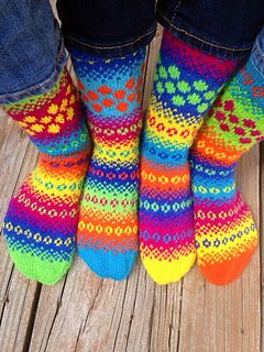 This pattern provides a great way to play with colors, and use up sock yarn leftovers. The crazier your socks look, the more fun they are to knit and wear!