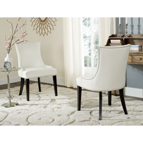 These Chic White Bicast Leather Dining Chairs With Contrasting Espresso  Stained Birchwood Legs And Nail  Part 43