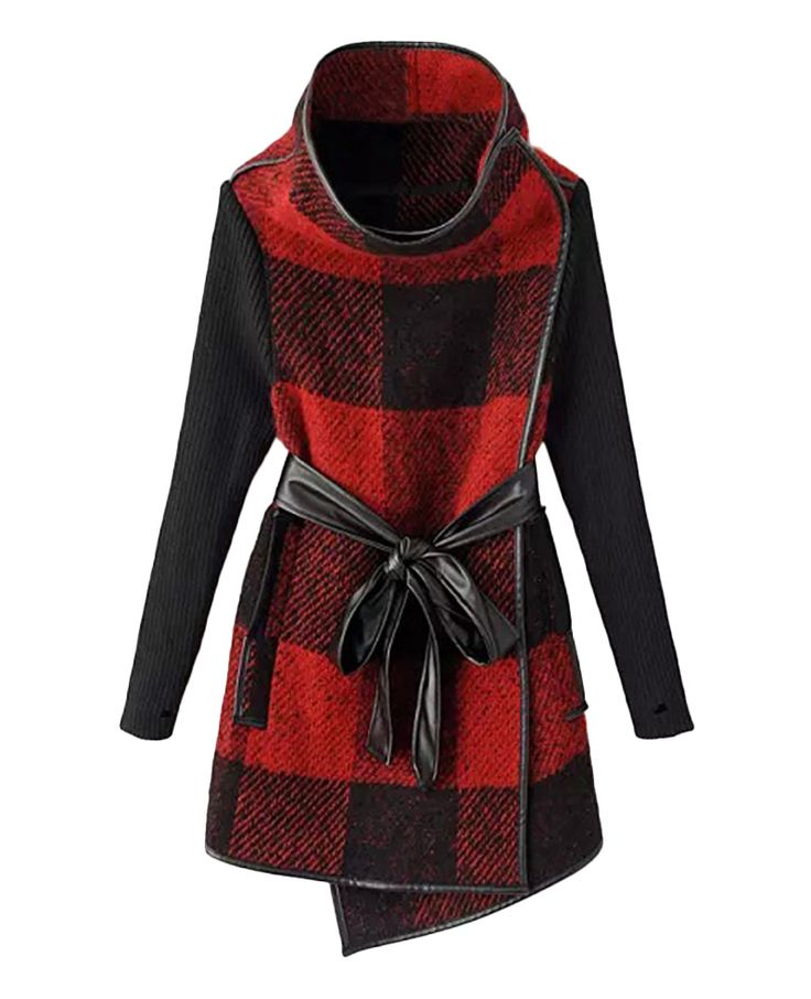 Leather-trimmed Belted Md-long Checked Coat | BlackFive