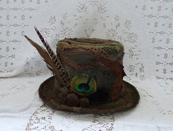 Chapeau haut de forme STEAMPUNK fée elfique forêt boho pixie laine Chapelier