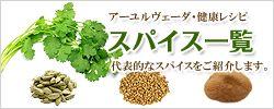アーユルヴェーダ・健康レシピ・スパイス一覧 代表的なスパイスをご紹介します。