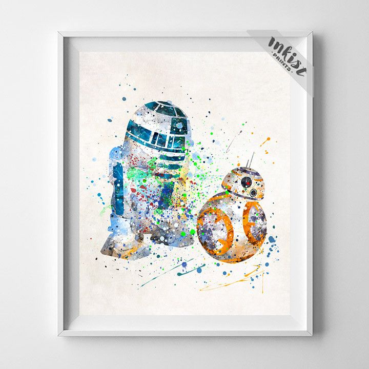 BB8 and R2D2, Star Wars Print. Click photo for details. Available to purchase at www.InkistPrints.com