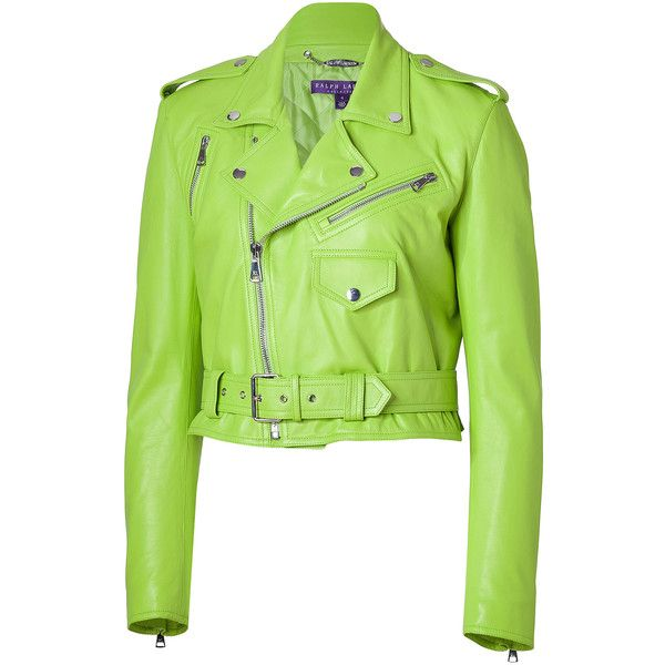 Ralph Lauren Collection - Lime Green Glove Leather Jacket (€1.335) ❤ liked on Polyvore featuring outerwear, jackets, real leather jackets, belted leather jacket, green motorcycle jacket, green leather jacket and moto jackets