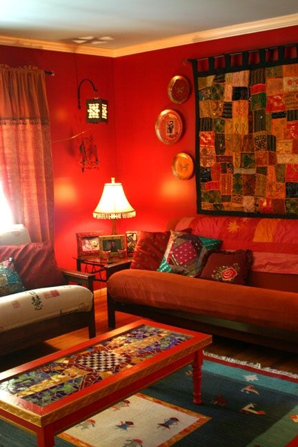 Ethnic indian living room interiors boho chic design - Indian ethnic living room designs ...