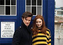 Matt Smith (11th) and Karen Gillian (Amy Pond) with THE TARDIS <3