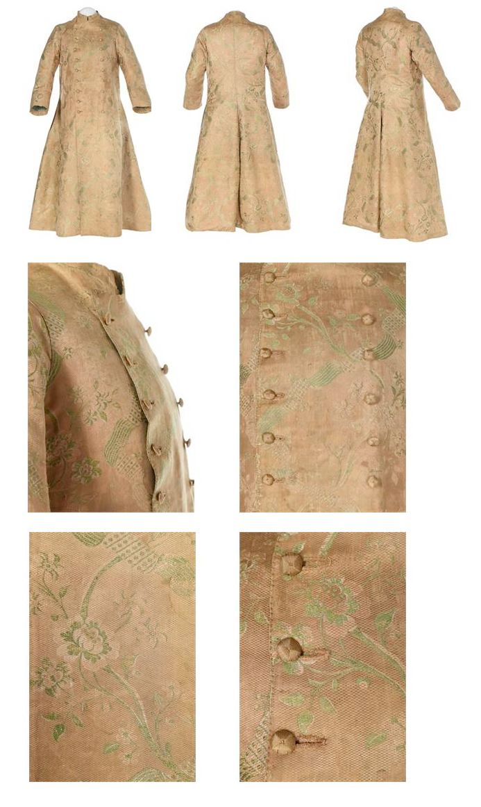 Gentleman's brocaded silk Banyan, 1760. A gentleman's brocaded silk banyan, circa 1760, of pale peach silk brocaded with ivory and pale green ribbon garlands and blossom, double-breasted with silk cord covered buttons, wide curved sleeves with broad cuffs, short stand collar, pocket slits and two internal linen patch pockets, lined in green taffeta, chest 102cm, 40in | Kerry Taylor Auctions