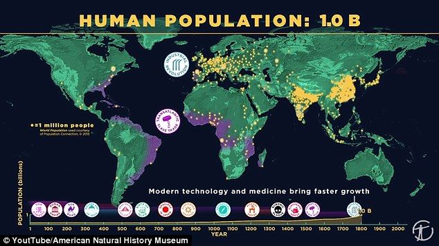 Animation on YouTube reveals how the world's population has grown to 7.2 BILLION | Daily Mail Online