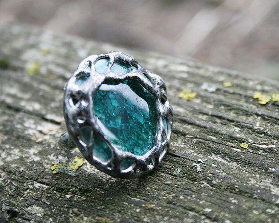 ceramic ring porcealin ring cracked ring by Blacksmithworkshop