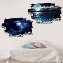3D Vinyl Wall Stickers - Moon & Earth