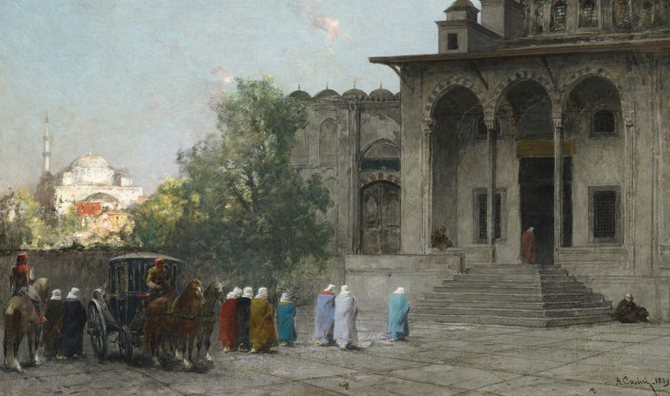 Alberto Pasini BEFORE THE MOSQUE, 1869 | Sotheby's