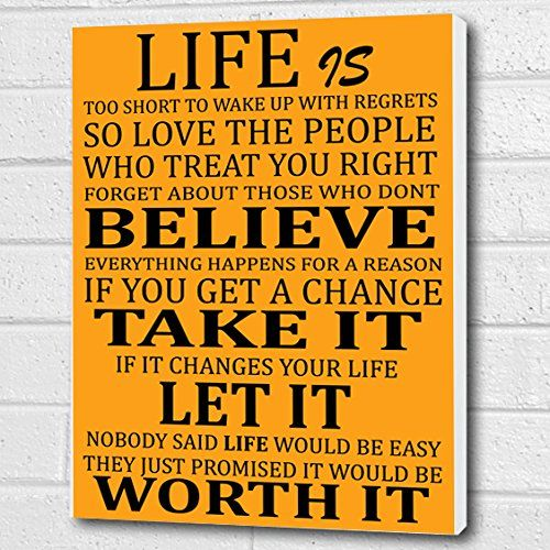 Life Is Too Short Quote   Wall Art Box Canvas   Orange Peel A3 12x16 Inch Part 66