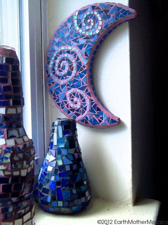 Mosaic Moon Custom Order Crescent Moon by earthmothermosaics, $70.00