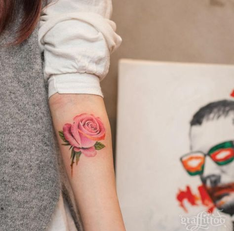 Pink Rose Tattoo on Forearm by Graffittoo