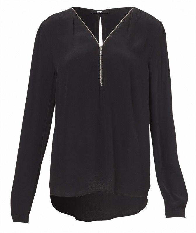 LONG SLEEVE ZIP NECK SHIRT-Tops-Clothing