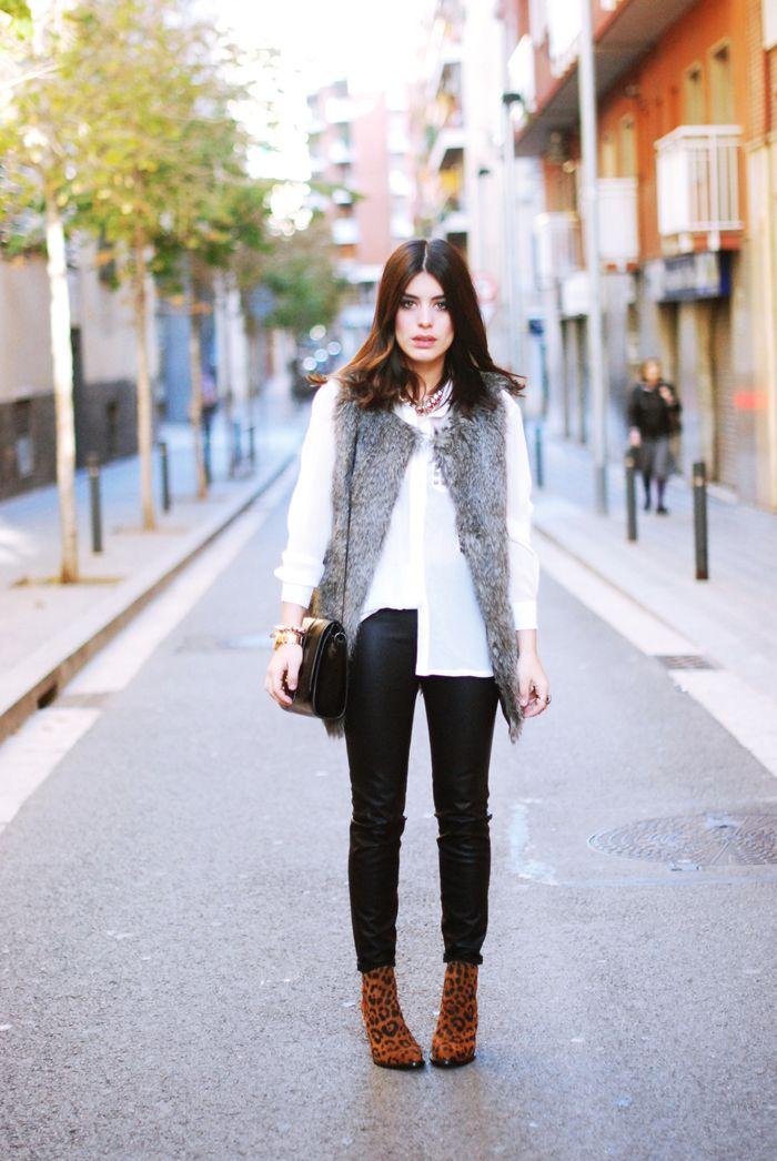 cream blouse, fur vest, leather pants, ankle booties