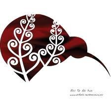 Maori art - Kiwi, fern design