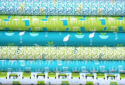 Perfectly Perched fat quarter bundle--6 pieces---1-1/2 yards total--Laurie Wisbrun for Robert Kaufman Fabrics. $14.25, via Etsy.