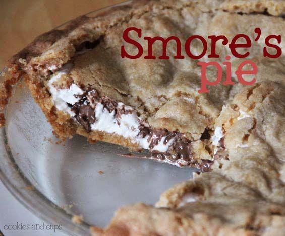 Smores Pie. Ingredients: Hershey Bars, sugar, flour, baking powder, butter, egg, vanilla, graham cracker crumbs, Marshmallow creme
