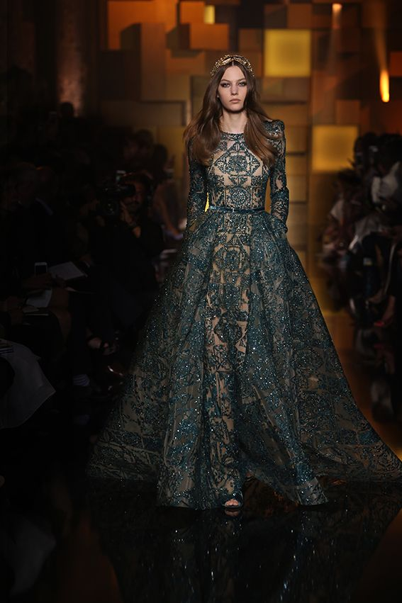 Deep green mosaic embroidered gown at yesterday's ELIE SAAB Haute Couture Autumn Winter fashion show.