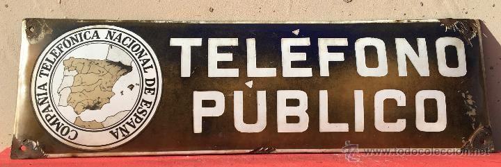 170  CHAPA ESMALTADA PUBLICIDAD OVALADA TELEFONO PUBLICO COMPAÑIA TELEFONICA NACIONAL DE ESPAÑA BARCELONA - Foto 1