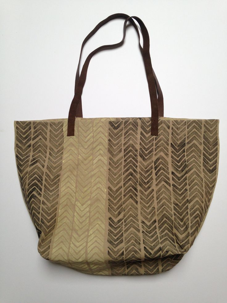 Hepphabit block printed canvas tote bag with leather handles - stripes