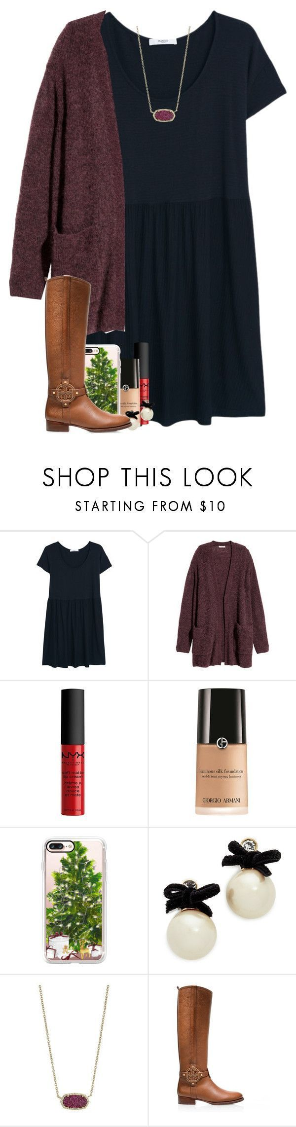 """""""day fourteen: lighting the advent candle"""" by madelinelurene � liked on Polyvore featuring MANGO, H&M, NYX, Giorgio Armani, Casetify, Kate Spade, Kendra Scott, Tory Burch and gabschristmascontest17"""