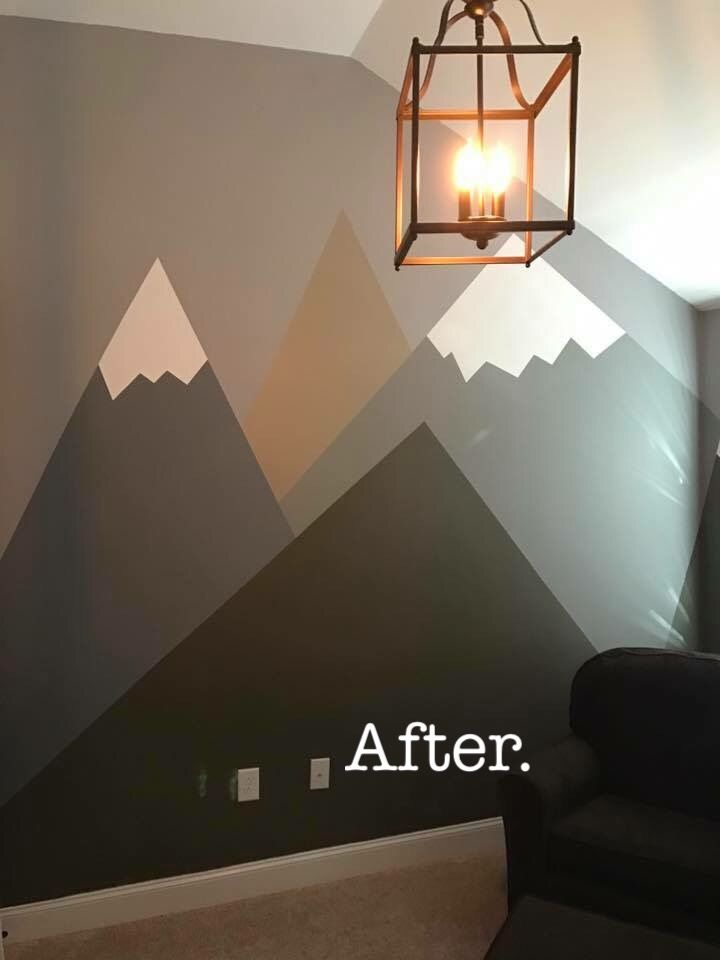 Boys room, mountains, nursery, wilderness, accent wall