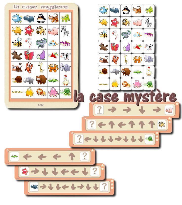 """Voici un jeu de repérage spatial découvert sur Pinterest, via la classe de Francesca. Les enfants ont une planche """" la case mystère"""" avec un tableau rempli d'images.Ils disposent également de bandes c"""