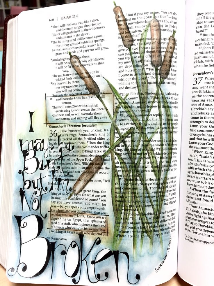 Bible journal entry #5 Isa 35:10, 36:6 Bent but not broken.