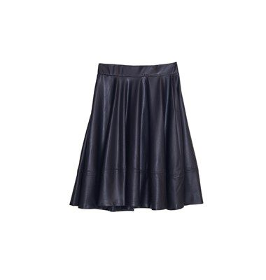 Leather look flare fit mini skirt