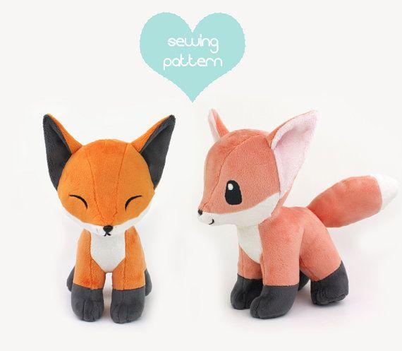 PDF sewing pattern  Baby Fox stuffed animal with par TeacupLion