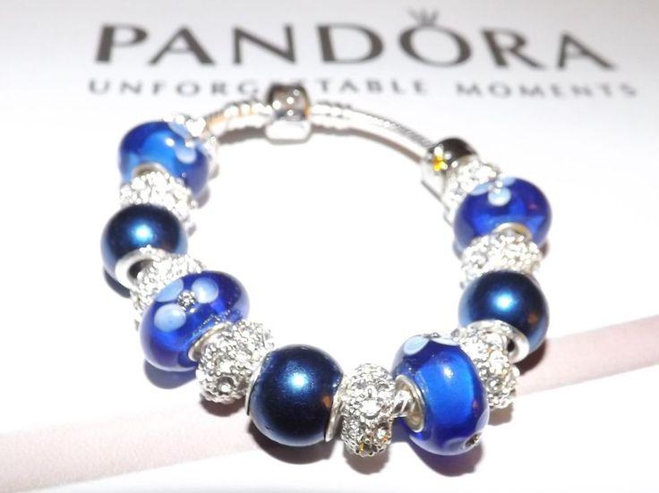 "AUTHENTIC WOMAN'S PANDORA BRACELET 7.1"" BRACELET 925 ALE W/MURANO & SS #Pandora #European"